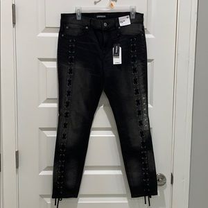 NWT Express faded jeans with lacing!